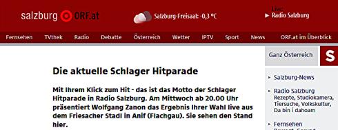 """RAdio Salzburg ORF Hitparade vom 06.01.2016 Peter Lorenz mit """"es tut immer noch weh"""" Platz 7."""